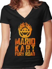 Mario Kart Fury Road Women's Fitted V-Neck T-Shirt