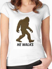 HE WALKS  Women's Fitted Scoop T-Shirt