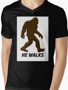 HE WALKS  Mens V-Neck T-Shirt