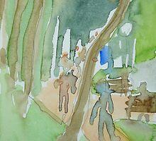 Joggers around Hoam Kiem Lake, Hanoi by donnamalone