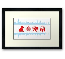 Chicago Flags with Teams and Skyline Framed Print