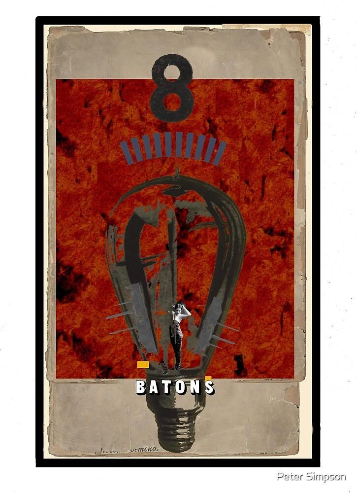 Dada Tarot- 8 of Batons by Peter Simpson