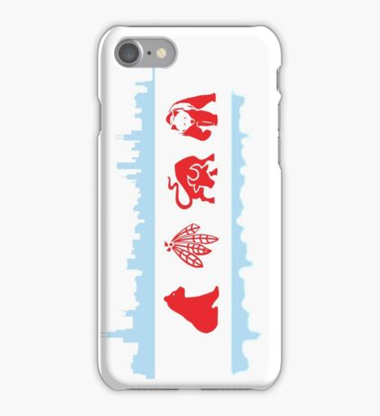 Chicago Flag with Skyline and Teams iPhone Case/Skin