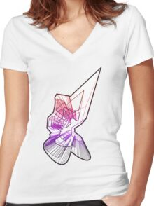Abstract -One Women's Fitted V-Neck T-Shirt