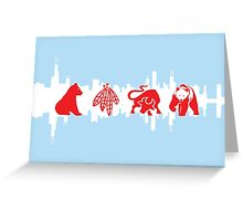 Chicago Flag with Logos and Skyline Poster Greeting Card
