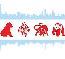 Chicago Flag with Logos and Skyline Poster by kwald12