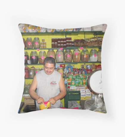 Mexican farmers market Throw Pillow
