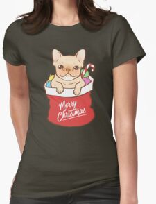 Frenchie comes with Santa Claus Womens Fitted T-Shirt
