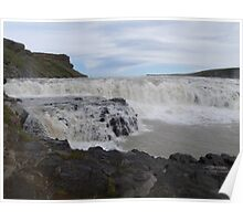 Gullfoss waterfall, Iceland known as Golden waterfall. Poster