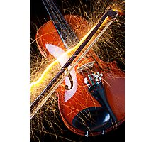 Violin with sparks flying from the bow Photographic Print