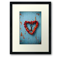 Small rose heart wreath with key Framed Print