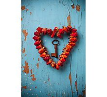 Small rose heart wreath with key Photographic Print