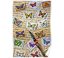 Butterfly stamps and old document Poster