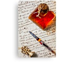 Ink bottle and pen  Canvas Print