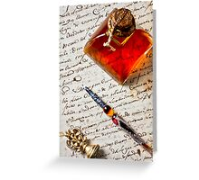 Ink bottle and pen  Greeting Card