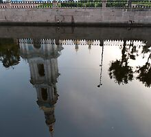 Reflection of a bell tower by Mark Prior