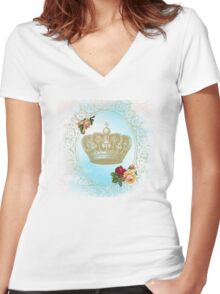 Shabby Chic Crown Women's Fitted V-Neck T-Shirt
