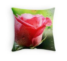 even roses sometimes cry Throw Pillow