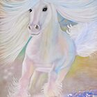 Sanctity- Pure, Radiant, Horse of Light in pastel by Tracy Robbins