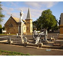 Cenotaph and Catholic Church, Ross Photographic Print