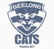 Geelong Cats, AFL Premiers 2011 (Washed Worn Look) Version 2 by TrashnTreasure