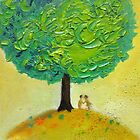Love tree original textured oil painting romantic couple light by natalyborissov