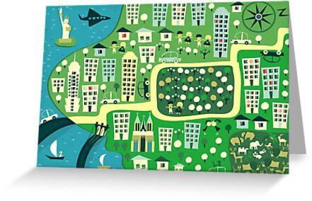 Cartoon Map of New York by Anastasiia Kucherenko