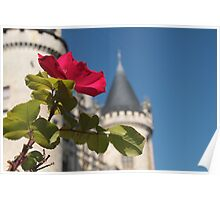 Red Rose and Chateau Poster
