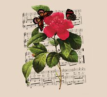 Flower, Butterflies & Song Womens Fitted T-Shirt
