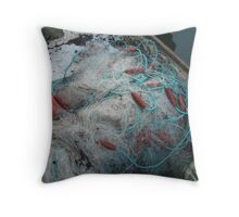 Fishing net in a boat. Throw Pillow