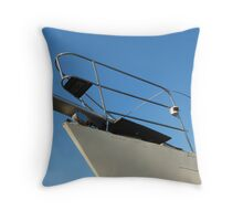 Bow of a boat in dry dock. Throw Pillow