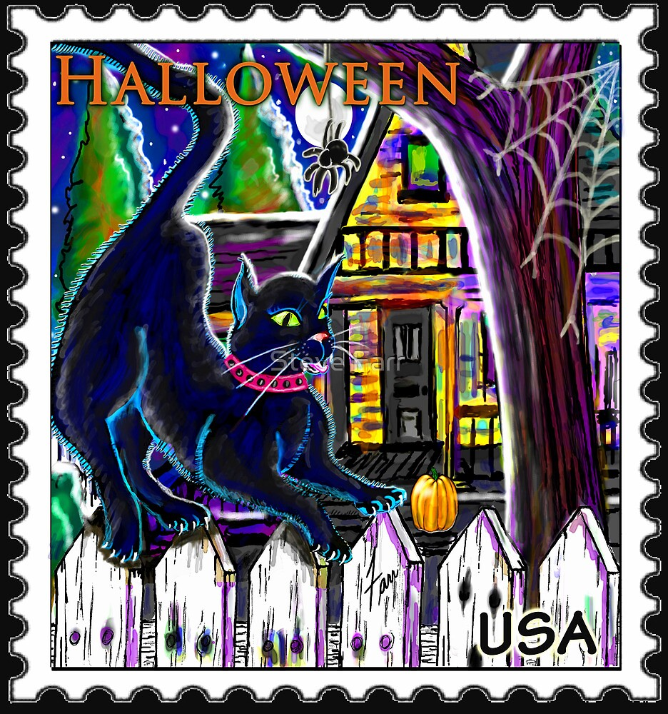 """""""Witch's Cat Halloween Stamp"""" by Steve Farr"""