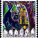"""Witch's Cat Halloween Stamp"" by Steve Farr"