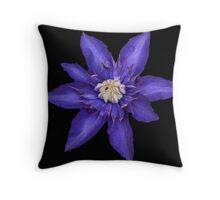 Blue Clematis. Throw Pillow