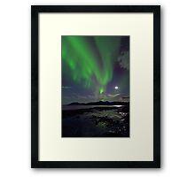 Moon & Aurora Borealis Framed Print