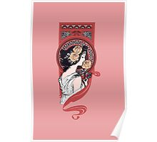 Red art nouveau flower girl Poster