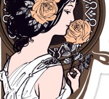 Brown and orange art nouveau flower girl Sticker