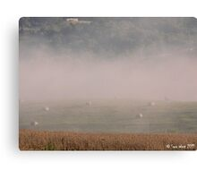 Hay Bales and Fog Canvas Print