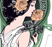 Art nouveau girl with roses Sticker