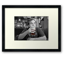 Beer Thinker (selective color) Framed Print
