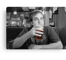 Beer Thinker (selective color) Canvas Print