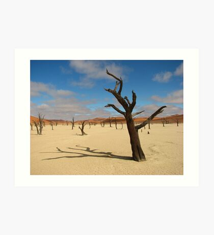 Dead camelthorn trees in Deadvlei, near Sossusvlei, Namib-Naukluft National Park, Namibia, Africa Art Print