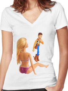 Woody sneaky peek Women's Fitted V-Neck T-Shirt