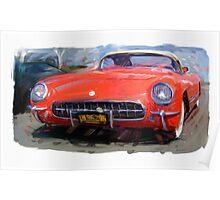 Red 1954 Corvette Poster