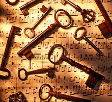 Old skeleton keys on sheet music by Garry Gay