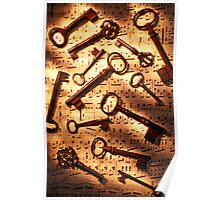 Old skeleton keys on sheet music Poster