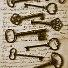 Old keys on letter by Garry Gay