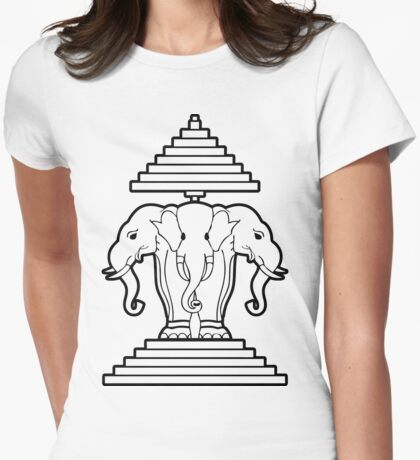 Erawan Lao / Laos Three Headed Elephant Womens Fitted T-Shirt