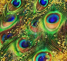 Fantasy Peacock Feathers laden with gold by Glimmersmith