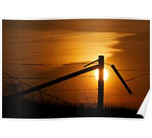 Prairie Fence At Sunset Poster